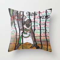 nba Throw Pillows featuring NBA PLAYERS - Shawn Kemp by Ibbanez