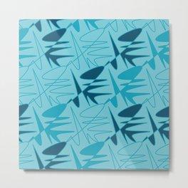 Tessellating Abstract - Blue Metal Print
