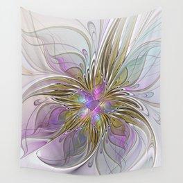 Flourish, Abstract Fractal Art Flower Wall Tapestry
