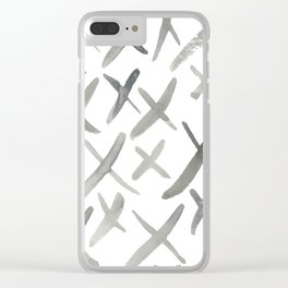 Watercolor X's - Grey Gray Clear iPhone Case