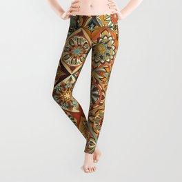 Vintage patchwork with floral mandala elements Leggings