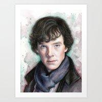 sherlock holmes Art Prints featuring Sherlock Holmes by Olechka