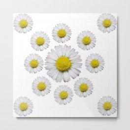 ALL WHITE SHASTA DAISY FLOWERS ART Metal Print