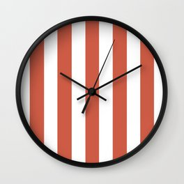 Dark coral red - solid color - white vertical lines pattern Wall Clock