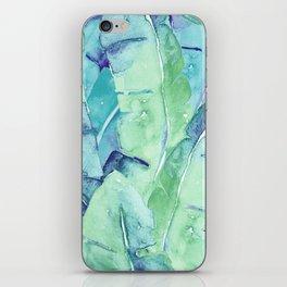 Banana Tree Leaves   Tropical  BLUE Watercolor iPhone Skin