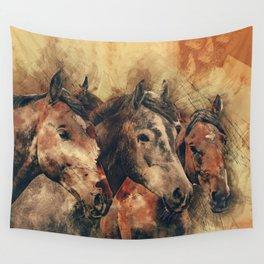 Galloping Wild Mustang Horses Wall Tapestry