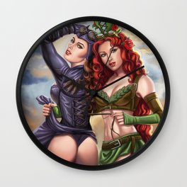 Steampunk Poison Ivy and Batgirl Wall Clock