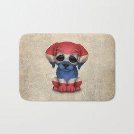 Cute Puppy Dog with flag of Thailand Bath Mat