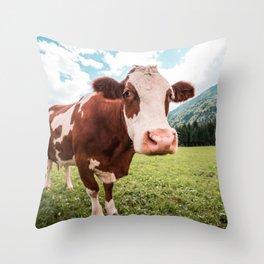 funny farmer cow Throw Pillow