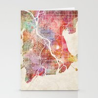 vancouver Stationery Cards featuring Vancouver map by Map Map Maps