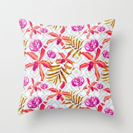Bold & Bright Colored Tropical Flowers on Silver Trellis Throw Pillow