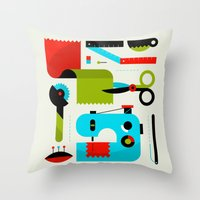 sewing Throw Pillows featuring Sewing Kit by koivo