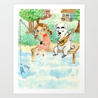 animal crossing Art Prints featuring Animal Crossing tribute by Luchie