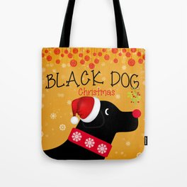 Black Dog Christmas Tote Bag