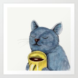 Cat and coffee watercolor, blue cat mug, cat painting, kitty art Art Print