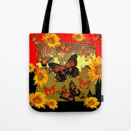 Two Color Abstracted Black-Red  & Orange Monarch Butterflies Tote Bag