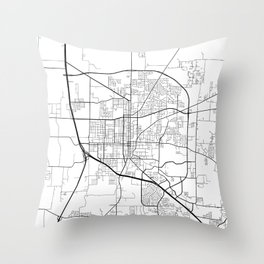 Denton Map, USA - Black and White Throw Pillow