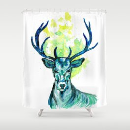 Blue Deer in the Headlight Shower Curtain