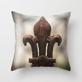 Fleur De Lis - Iron Fleur De Lis with Raindrops in New Orleans French Quarter Throw Pillow