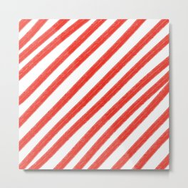 Red and White Painted Diagonal Stripes Pattern Metal Print