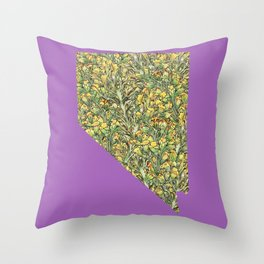Nevada in Flowers Throw Pillow