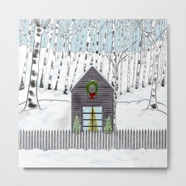 Christmas Cabin In The Snowy Woods Metal Print