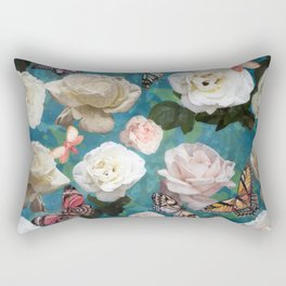 White Roses and Butterflies Rectangular Pillow