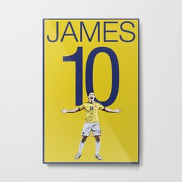 James Rodriguez 10 Colombia Soccer Print Metal Print