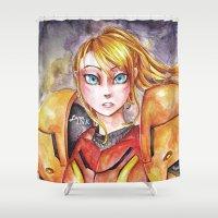metroid Shower Curtains featuring Samus Aran - Metroid by Luna