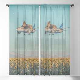 Lion on a plane Sheer Curtain