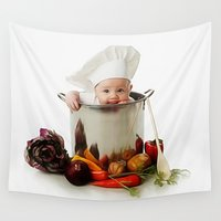 chef Wall Tapestries featuring Cute Cooking Chef by ShineShop