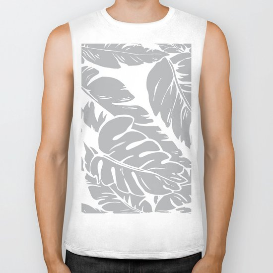 PALM LEAF GRAY Biker Tank