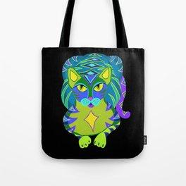 Peacock Tabby Noire Tote Bag