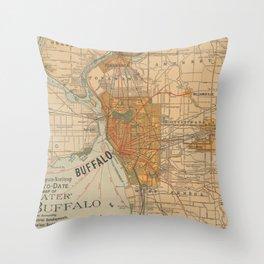 Vintage Map of Buffalo NY (1893) Throw Pillow