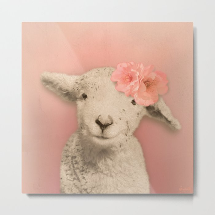 Flower Sheep Girl Portrait, Dusty Flamingo Pink Background Metal Print