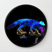 drunk Wall Clocks featuring Drunk Fox by Jesse Robinson Williams