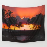 hawaii Wall Tapestries featuring Sunset, Hawaii by Elliott's Location Photography