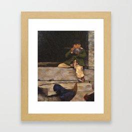 Little Boy and Bowl of Soup Framed Art Print