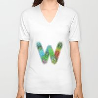 letter V-neck T-shirts featuring Letter W by David Zydd