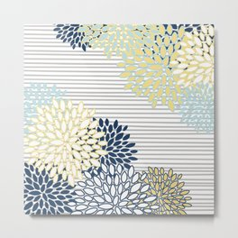 Floral Prints and Stripes, Line Art, Yellow, Navy Blue and Gray Metal Print