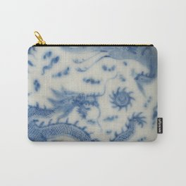Damask vintage Monaco blue white girly ginger jar floral antique chinese dragon chinoiserie china Carry-All Pouch