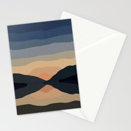 Sunset Mountain Reflection in Water Stationery Cards