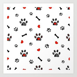 Doodle black paw prints, bone with red heart Art Print