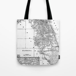 Vintage Map of Florida (1909) BW Tote Bag