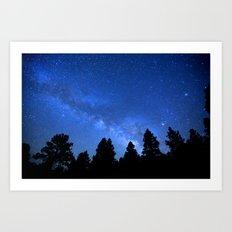 Milky Way (Black Trees Blue Space) Art Print