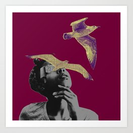I think I saw a purple bird Art Print