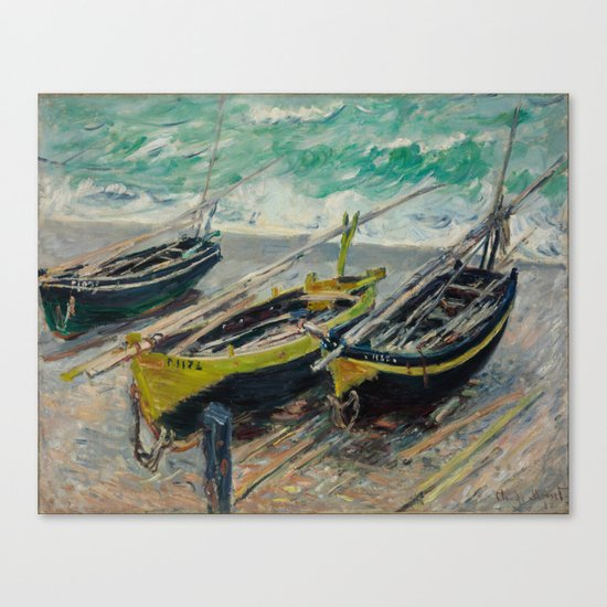 Claude Monet - Three Fishing Boats Canvas Print