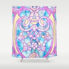 Art Nouveau Blue Pink and Yellow Batik Design Shower Curtain