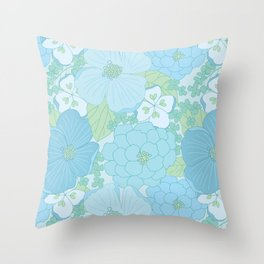 Light Blue Pastel Vintage Floral Pattern Throw Pillow