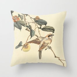 Vintage brown ivory bird floral tree branch Throw Pillow